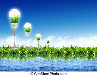 Eco concept -light bulb grow in the grass
