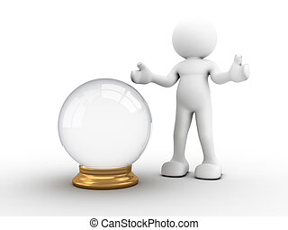 Crystal ball - 3d people - human character with a crystal...