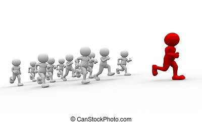 Athlete - 3d people - human character running- leadership 3d...