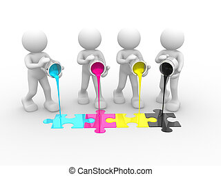 Jigsaw - 3d people - human character and colorful...
