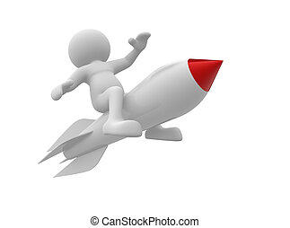 Rocket - 3d people- human character flying on the rocket. 3d...