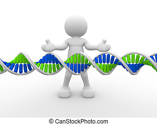 DNA - 3d people icon with DNA structure. This is a 3d render...