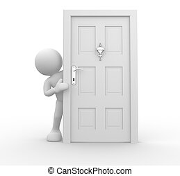 Knocker on door - 3d people - human character and knocker on...