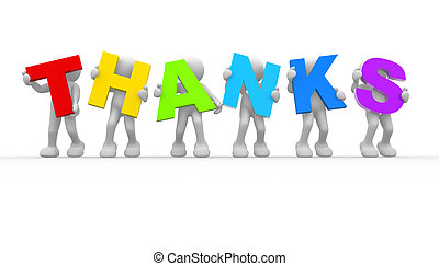 "Word""Thanks"" - 3d people - human character and word""Thanks""...."