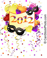 new years eve - vector illustration of balloons, masks and...