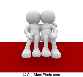 Couple - 3d people - human character - love concept. 3d...