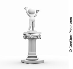Roman column - 3d people - human character and roman column....