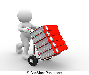 Folders - 3d people - human character and hand-truck with...
