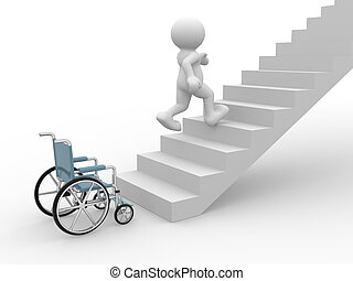 Wheelchair - 3d people- human character running from...