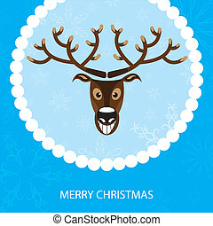 Vector illustration. Christmas card with reindeer