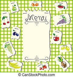 Vector illustration - set of fruits with menu. Design for kitchen