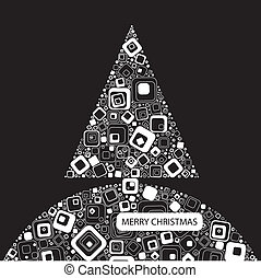Vector illustration. Black background with Christmas tree