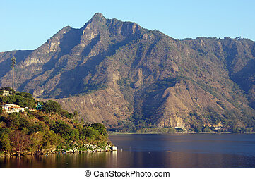 Mountain and lake Atitlan near San Pedro, Guatemala...