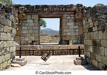 Temple in Copan - Ruins of temple on the top of pyramid in...