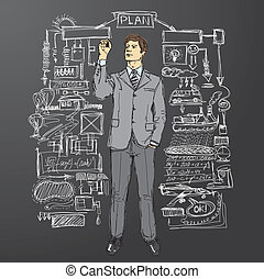 businessman writing something - vector businessman writing...