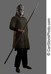 Saxon, harcos, törzsfőnök, lándzsa