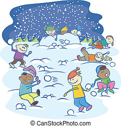 kids playing snowballs isolated