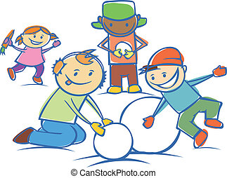 kids making a snow man isolated
