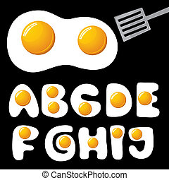eggs alphabet - vector fried eggs alphabet