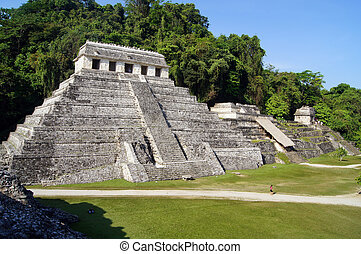Temple - Road and temple of Inscriptions in Palenque, Mexico...