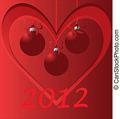 2012 card with red hart - red hart with christmas balls card