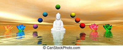 chakra - buddha and water lily