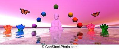 chakra - buddha and chakra and lily water