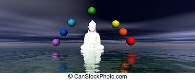 buddha and chakra - buddha white and chakra