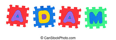 Adam - The name ADAM made of letter puzzle, isolated on...
