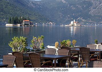 Tables in restaurant in Perast, Montenegro