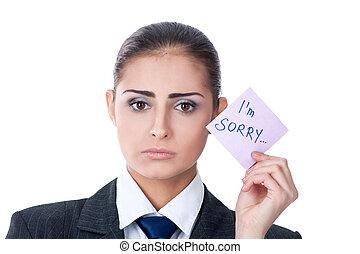 """nota, dizendo,  """"sorry"""", mulher, segurando"""