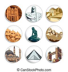 Travel badges | Set 3 - Badges with famous places all around...