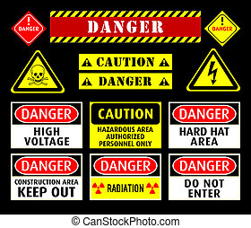 Danger warning symbols - Set of typical danger and caution...