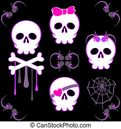 Emo skulls - Set of emo skulls with decoration elements