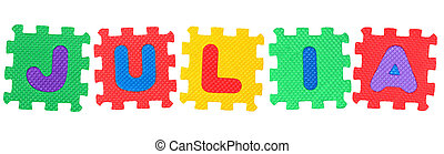 Julia - The name JULIA made of letter puzzle, isolated on...
