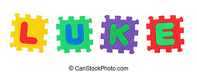 Luke - The name LUKE made of letter puzzle, isolated on...
