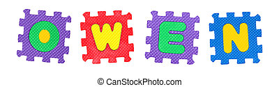 Owen - The name OWEN made of letter puzzle, isolated on...