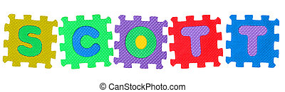 Scott - The name SCOTT made of letter puzzle, isolated on...