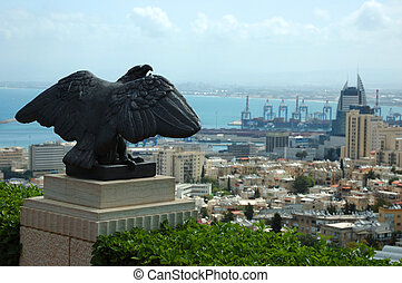 View of Haifa city and eagle statue,Israel