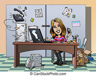 Busy employee - Cartoon-style illustration: a busy smiling...