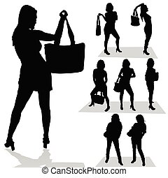 girl with bag black silhouette