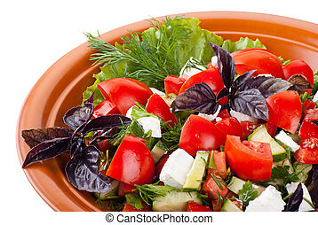 Greek Salad with Tomatoes, Feta and Vegetables - Greek Salad...
