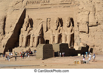 Abu Simbel - Templa in Abu Simbel and tourists, Egypt...