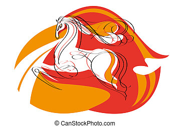 Red mustang - Sketch of the magnificent mustang for...