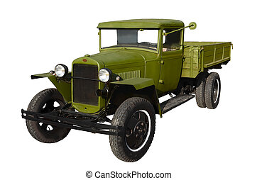 Old truck - Green truck early twentieth century isolated on...