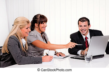 successful team in a meeting
