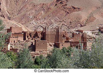 Casbah and mountain in Bulman Dodes in Morocco