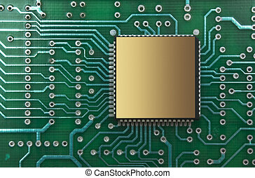 microchips on a printed circuit board - pile of microchips...