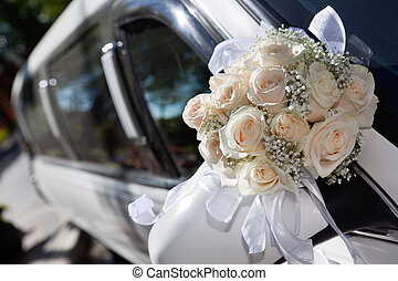Bouquet and Limo - Wedding car decorated with flower bouquet