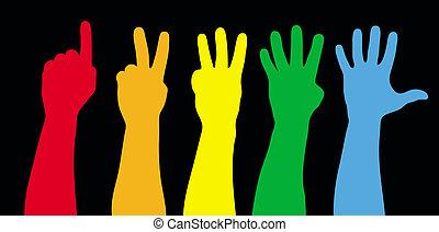 cor, mãos, contagem, pretas, vetorial,...